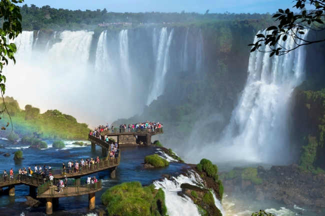 Tourists at Iguazu Falls, Foz do Iguacu, Brazil